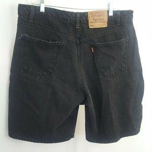 Levis 550 Black Denim Shorts Orange Tab Jeans